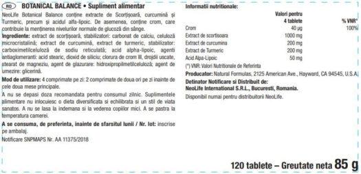 Eticheta produs Botanical Balance NeoLife