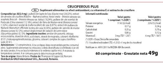 Eticheta produs Cruciferous Plus NeoLife GNLD