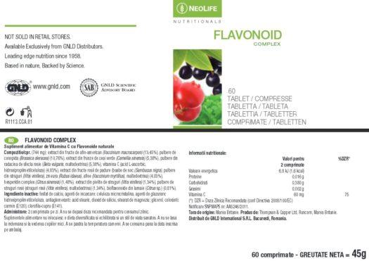 Eticheta produs Flavonoid Complex NeoLife GNLD