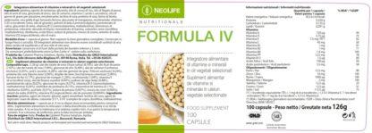 Eticheta produs Formula IV GNLD NeoLife