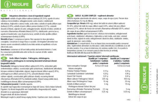 Eticheta cu informatii si valori nutritionale pentru Garlic Allium Complex de la GNLD NeoLife