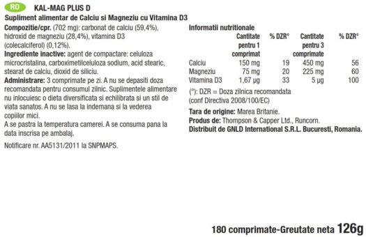Eticheta cu Informatii Nuttritionale produs Kal-Mag, marca GNLD NeoLife.