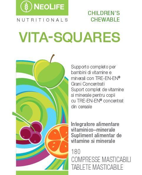 Eticheta fata produs Vita-Squares, marca NeoLife GNLD