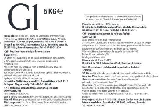 Eticheta detergent G1 Golden GNLD 5kg