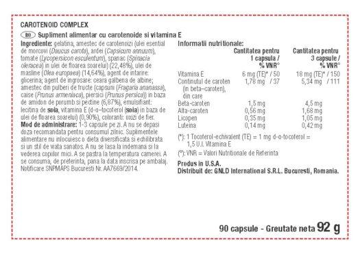 Tabel valori nutritionale Carotenoid Complex NeoLife