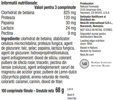 Tabel informatii nutritionale Beta-Gest