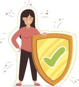 Simbol pentru sistemul imunitar: Femeie cu scut de protectie.